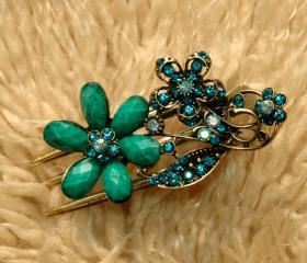 Emerald Stones and Rhinestone Blooming Claw Clips