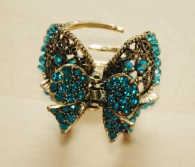 Teal Blue Gold Plated Rhinestone Filigree Bow Clip