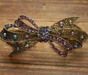 Lavender Rhinestone Bow Barrette Hair Clip