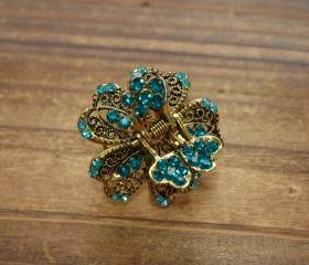 Teal Blue Rhinestone Filigree Flower Blossom