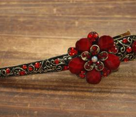 Red Ruby Stones and Rhinestone Blooming Claw Clips