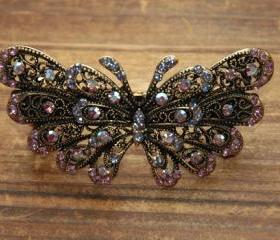 Lavender Rhinestone Butterfly Barrettes Hair Clips