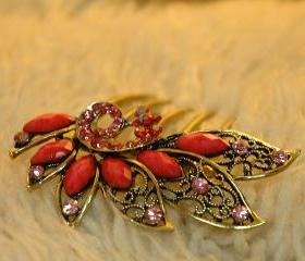 Pink Stones Gold Plated Rhinestone Hair Comb