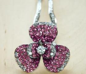 Red Pink Silver Rhinestone Flower Hair Comb