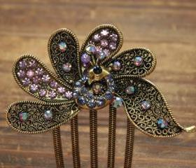 Gold Plated Lavender Rhinestone Peacock Hair Comb