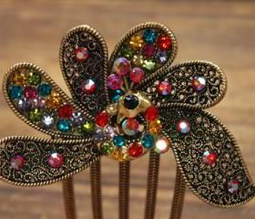 Gold Plated Colorful Rhinestone Peacock Hair Comb