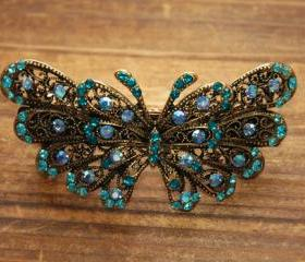 Teal Blue Rhinestone Butterfly Barrettes Hair Clip
