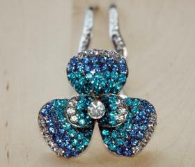 Teal Blue Silver Rhinestone Flower Hair Comb