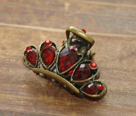 Red Ruby Rhinestone Filigree Flower Claw Clip