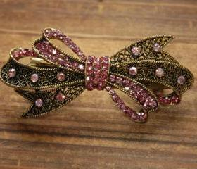 Rose Pink Rhinestone Bow Barrette Hair Clip
