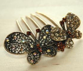 Amber Gold Rhinestone Butterfly Hair Comb