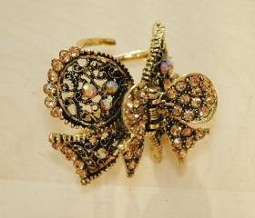 Gold Plated Rhinestone Filigree Bow Ribbon Clip