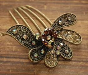 Gold Plated Amber Rhinestone Peacock Hair Comb