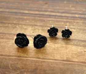 Lovely Shimmering Steampunk Rose Ear Studs 2 pairs