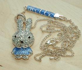 Miffy Diamante Pendant Long Chain Necklace