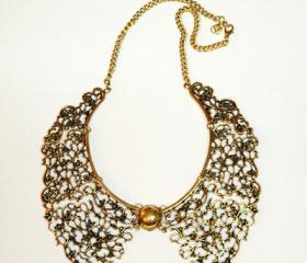 Classic Antique Bronze Plated Collar Necklace