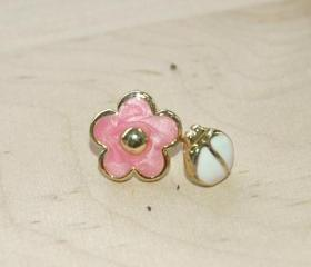 Mini Flower and Lady Bird Gold Earrings