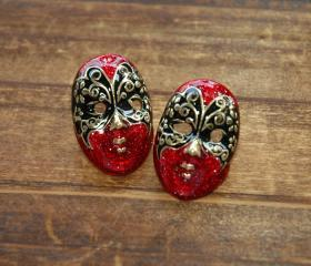 Red Phantom of the Opera Butterfly Mask Earrings