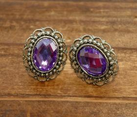 Madam Butterfly Vintage Earrings - Tanzanite